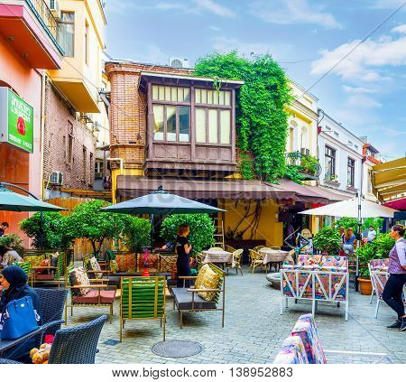 TBILISI GEORGIA - MAY 28 2016: The Shavteli street is one of the best places to eat or drink in the old town on May 28 in Tbilisi.