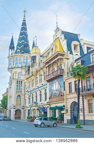The former building of the National Bank with its famous astronomical tower looks like the palace from fairy tale Batumi Georgia.