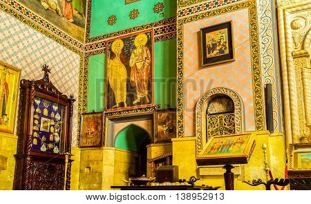 TBILISI GEORGIA - MAY 28 2016: The Sioni Cathedral of Dormition decorated with icons frescoes on walls floral and stellar patterns on May 28 in Tbilisi.