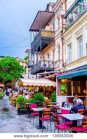TBILISI GEORGIA - MAY 28 2016: The best way to spend the evening in old town is to visit one of the local cafes on May 28 in Tbilisi.