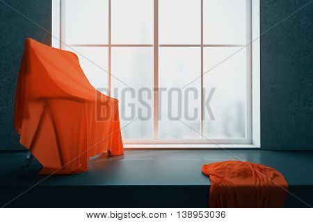 Chair under red piece of cloth on windowsill with blurry city view. 3D Rendering
