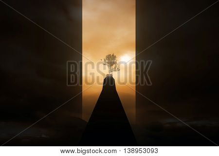 Risky road to success. Dark path to growing tree on abstract sunset background