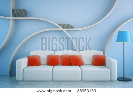 Front view of futuristic living room interior with red pillows on white couch floor lamp and abstract shelves on blue concrete wall background. 3D Rendering