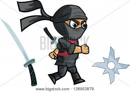 Running Ninja Game Sprite, vector draw illustration for games