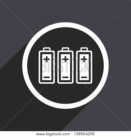 Gray flat design battery vector icon