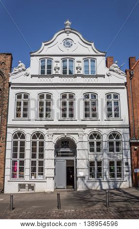 LUBECK, GERMANY - APRIL 19, 2014: White Buddenbrookhaus house in the center of Lubeck, Germany