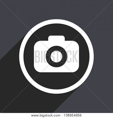 Gray flat design photo vector icon