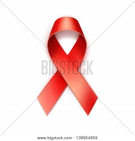Vector Red Pink Breast Cancer Ribbon Isolated on White Background