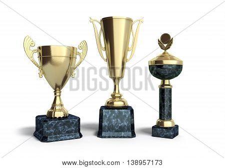 Gold Trophys Cup 3D Illustration On White