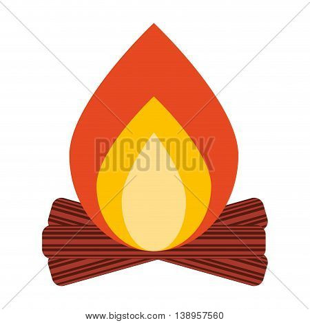campfire wood flame icon graphic isolated vector