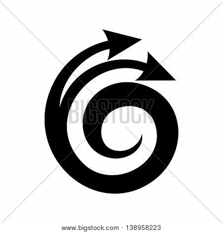 Spiral arrow, design element icon in simple style isolated on white background