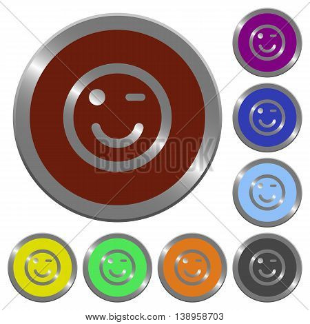 Set of color glossy coin-like Winking emoticon buttons.