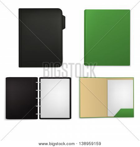 Set of document folders with papers, isolated on white background. Vector files.