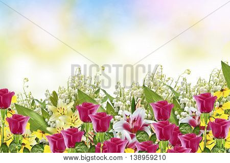 Beautiful flowers lily and lily of the valley. rose