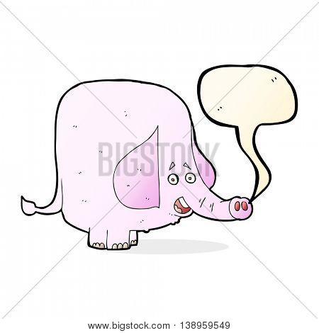 cartoon pink elephant with speech bubble