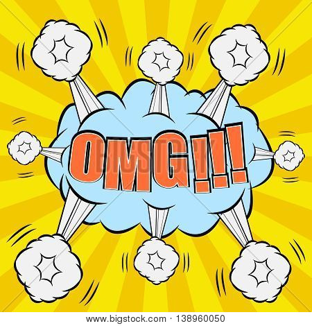 OMG comic wording. Exploding bubble with many clouds from different sides. Pop-art style. Cartoon in yellow and blue colors