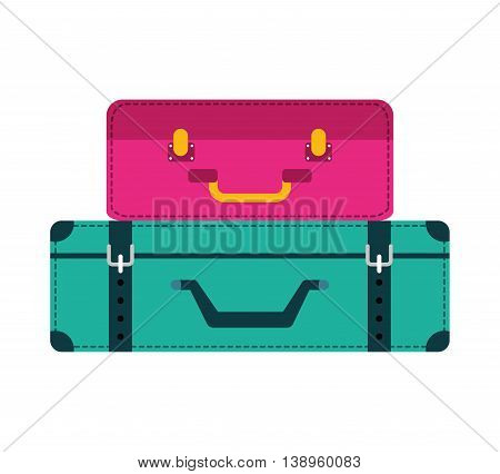 bag suitcase gaggage icon graphic isolated vector