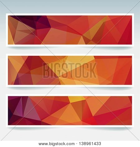Vector Banners Set With Polygonal Abstract Triangles. Abstract Polygonal Low Poly Backdrops. Red, Ye
