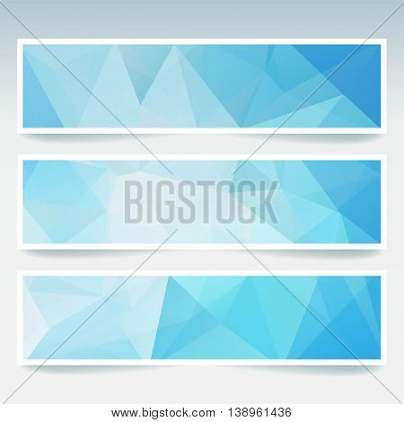 Vector Banners Set With Polygonal Abstract Triangles. Abstract Polygonal Low Poly Backdrops. Blue, W