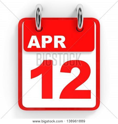 Calendar On White Background. 12 April.