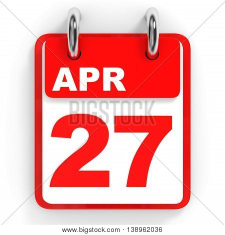 Calendar On White Background. 27 April.