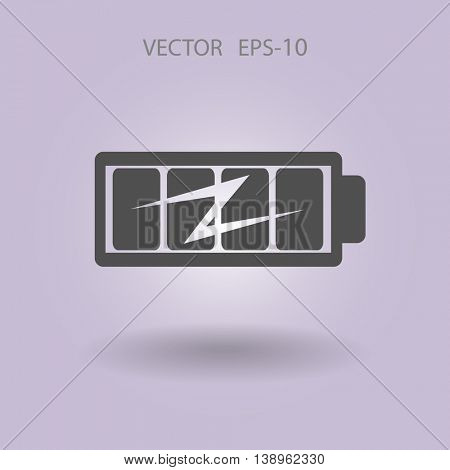 Flat full  battery charged  icon