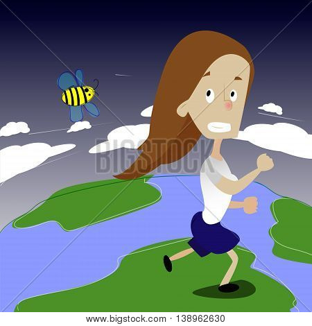 Cute girl running away from bee. Girl run on the Earth