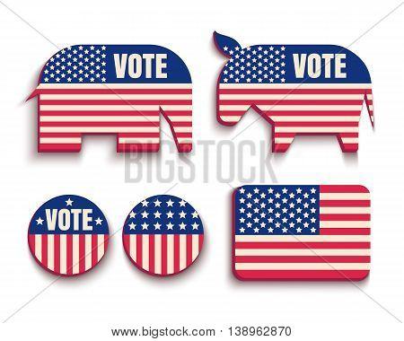Vector set USA symbols. Flag donkey and elephant