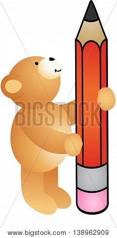 Scalable vectorial image representing a teddy bear holding pencil, isolated on white.