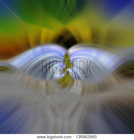 Abstract spiritual psycho fractal with soft colorful aura around the stylized angels wings.