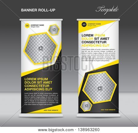 Yellow Roll up banner template stand display advertisement flyer design polygon vector