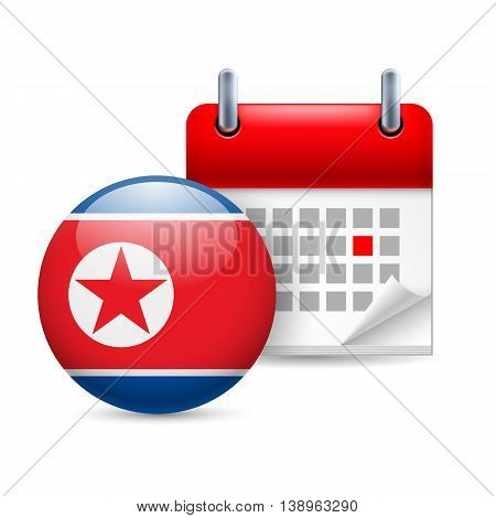Calendar and round flag icon. National holiday in North Korea