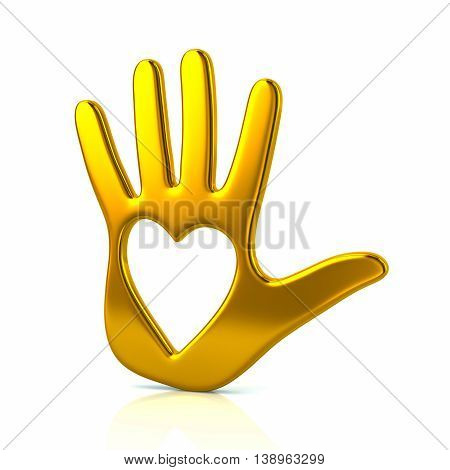 3D Illustration Of Yellow Hand With Heart
