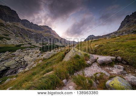 Mountain Landscape in the Evening. Mlynicka Valley High Tatra Slovakia.