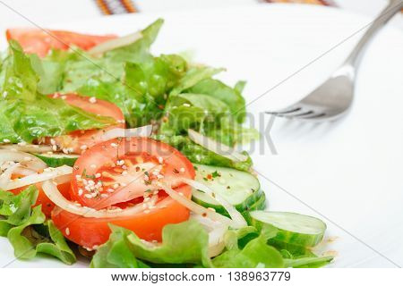 Fresh green salad with cucumber tomato onion lettuce sesame oil soy sauce oil and dry spices. Low aperture shot selective focus