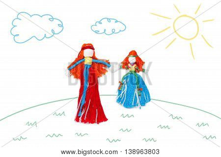 Mother and daugter holding hands on children color sketch background. Family femininity concept