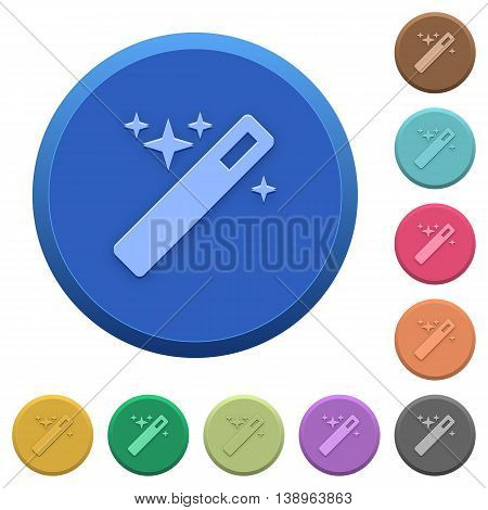 Set of round color embossed magic wand buttons