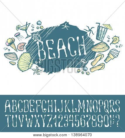 Vector label with hand made font. With inscription Beach