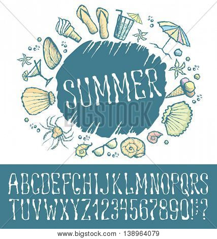 Vector label with hand made font. With inscription Summer