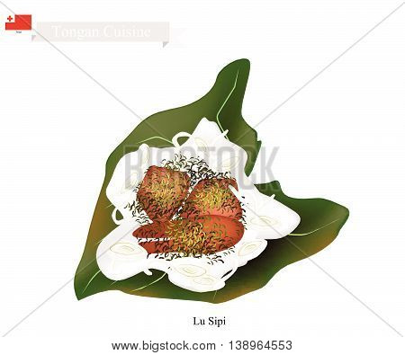 Tongan Cuisine Illustration of Lu Sipi or Traditional Lamb Chicken or Fish Coconut and Onion Wrapped in Taro Leaves. One of The Most Famous Dish in Tonga.