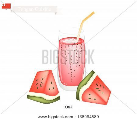 Tongan Cuisine Watermelon Otai or Traditional Drink Made From Watermelon and Coconut Milk. One of The Most Popular Drink in Tonga.