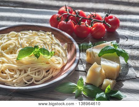 Portion Of Spaghetti With Ingredients