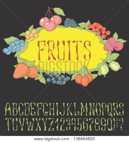 Vector berries pattern with hand made font. With inscription Fruit