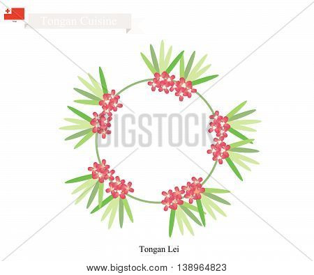 Tonga Flower Illustration of Tongan Lei or Tonga Garland Made From Heilala or Garcinia Sessili Flowers for Birthday Wedding and Graduation Celebrations.