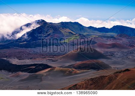 Scenic View Of Volcanic Landscape And Craters, Haleakala, Maui