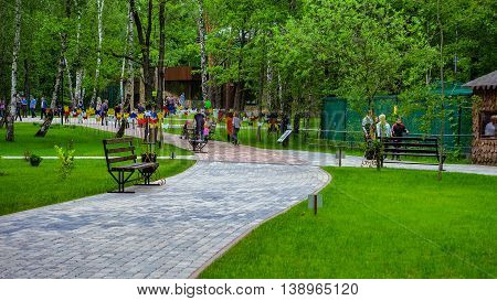 RUSSIA, BELGOROD - June 13 2016: New Belgorod zoo in the woods. Walking paths.