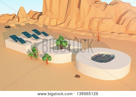 Solar panels water trees mountains and rocks in polygonal desert. Eco concept 3D Rendering
