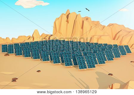 Solar panels in polygonal desert with mountains several clouds and birds in the sky. 3D Rendering