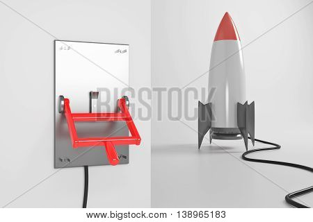 Startup concept with abstract rocket ship connected to turned down lever switch on white background. 3D Rendering