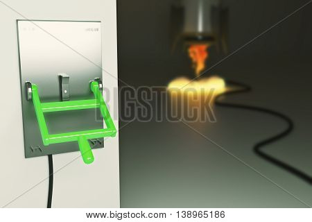 Startup concept with abstract blurry launching rocket ship connected to green lever switch on dark grey background. 3D Rendering